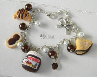 Nutella, bread and Nutella bracelet, Fimo bracelet, crepes, Croissant, chocolate, bracelet in Polymer clay