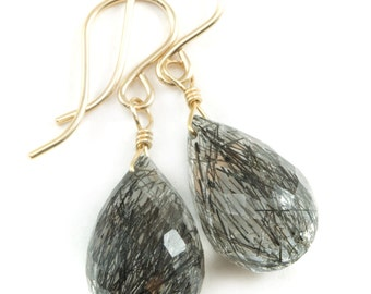 Black Rutile Quartz Earrings 14k Gold Filled or Sterling Silver Faceted Dangle Rutilated Rounded  Fat Briolette Teardrops AAA Rutilation