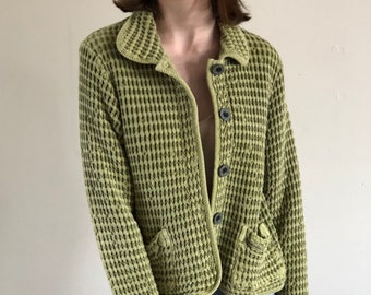 textured cotton vintage jacket / olive cropped cotton jacket / loose fit button front 90s spring jacket | s m