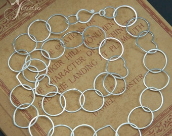 Delicate Handmade Sterling Hearts and Circles chain necklace 19inch
