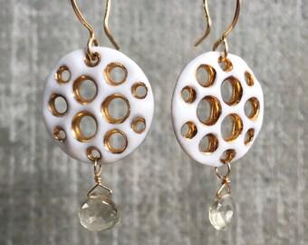 Honeycomb Diatom in Porcelain and Gold with Honey Quartz