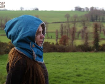 Blue collar-hood - scarf hood warm and comfortable