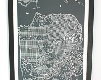 San Francisco Vintage 1950s Map Canvas Poster 24x36 Unframed or Stretched