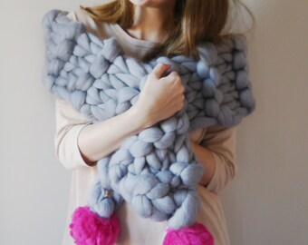 Chunky Knit Pom Pom Scarf, Super Chunky cosy scarf 30+ colours - Pom-Pom scarf wrap - Fun Scarf - Pompom chunky knit, Perfect gift