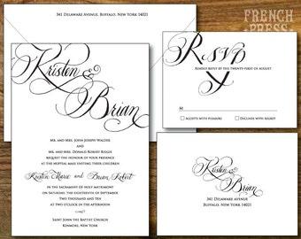SAMPLE: Elegant Calligraphy Wedding Invitation Suite, Printed Invitation Set