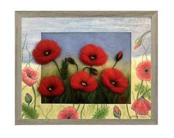 Flowers painting, Wool picture, Wall art, Fiber art, Home decor painting, Wall art flowers, Felt art, Wall décor, Wall decor nature, Gift