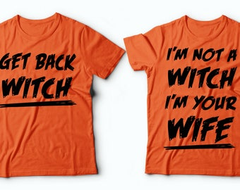 Halloween Couple Costumes Funny Witch Halloween Shirt Husband Wife Halloween Costumes Couples Halloween Costumes T-shirts lRSHT