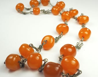 Artisanal vintage hand made Baltic honey amber bead necklace