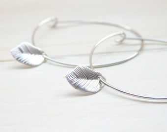 Silver Little Leaf Hoop Earrings