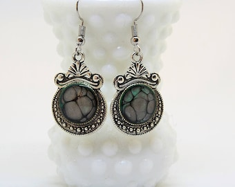 Hand painted abstract drop earrings - Smoke