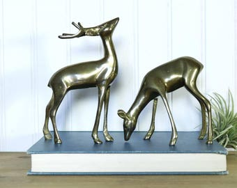 Brass Deer, Vintage Brass Buck and Doe, Woodland Creatures, Animal Figurines, Nature Inspired, Cabin, Woods, Spring Decor, Gifts