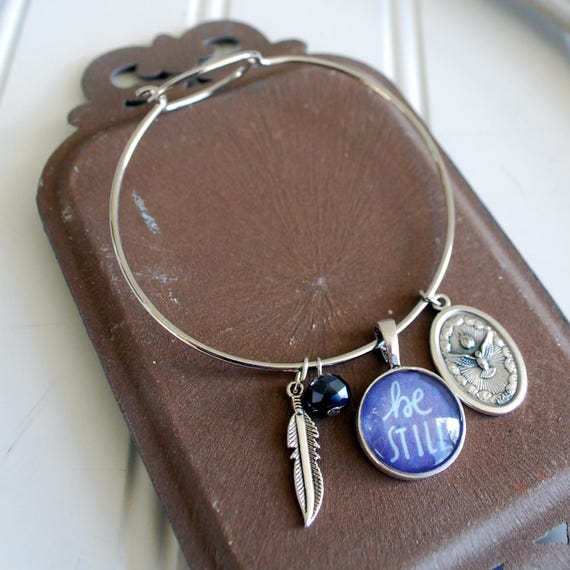 Catholic Christian Charm Bracelet Bangle Be Still Pendant w/ Holy medal, feather, and bead charm * Gift for Her * Easter Confirmation Gift