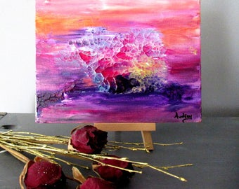 Mini abstract painting Modern Art pink Abstract Art