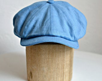 Men's Linen Newsboy Hat - Men's Newsboy Cap - Blue Linen Cap - Newsboy Cap - Men's Linen Cap