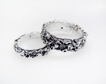 Steampunk Wedding Band Set - Made from Recycled Silver