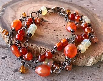 Multistrand Bracelet, Carnelian & Opal Bracelet, Oxidized Silver Bracelet, Adjustable Bracelet, Chain and Stone Bracelet, Multi Color Stone