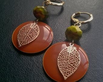 sweet citrus, orange sequins and golden leaves openwork earrings