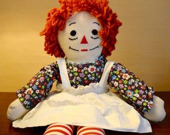 Cloth Doll. Rag Doll. Soft. Dressable Raggedy Ann. Handmade Raggedy Ann. Kid Room Decor. - VT38