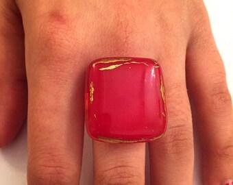 Rouge bague murano verre - couleur rouge - fait main - l'anneau est ouvert or plaqué plaqué.
