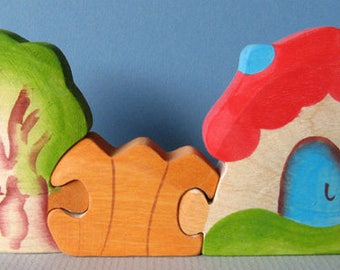 Summer Cottage, wooden Waldorf puzzle toy, wholesome play