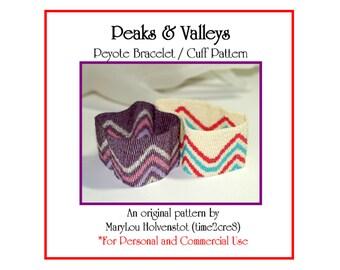 Peyote Bracelet Pattern ... PEAKS & VALLEYS ... Zigzag . Stripes . Geometric . Beadwork . Cuff . Modern . Instruction . Tutorial . 3 for 2