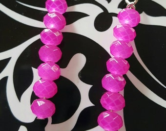 Hot Pink faceted glass dangles