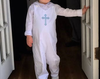 Boys Monogrammed White Pique Longall, Monogram or Embroidered Cross