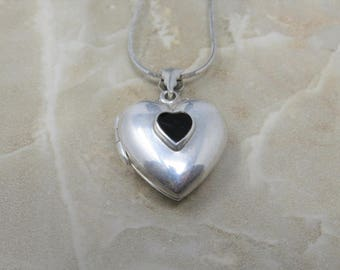 Silver Heart Locket with Black Onyx Heart, Sterling Silver Chain, Sterling Silver Heart Locket, Sterling Silver, Vintage Necklace