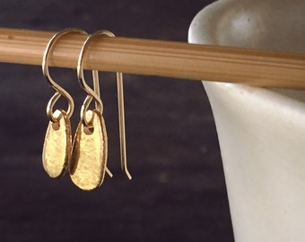 Shinjuku Mismatched Gold Paddle Drop Earrings on Gold Filled Ear Wires - Wabi Sabi - Mismatched and Casually Elegant Everyday Earrings