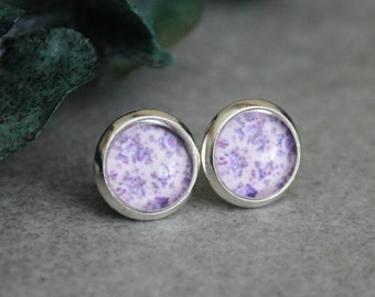 Purple Floral Earrings, Purple Stud Earrings, Purple Flower Earrings, Purple Earrings, Purple Post Earrings, Lavender Earrings, 8MM Studs