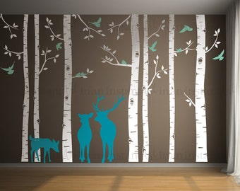 Woodland Birch Tree Wall Decal | Woodland Animals Wall Art | Sticker Pack | Custom Nursery | Kids Wall Stickers | Wall Decal Sticker | 137
