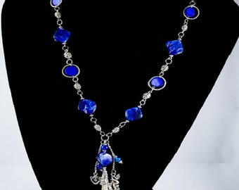Handmade Vintage Blue Mother of Pearl - Tibetan Silver Necklace Jewelry