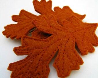 autumn oak leaf hair clip - dark orange