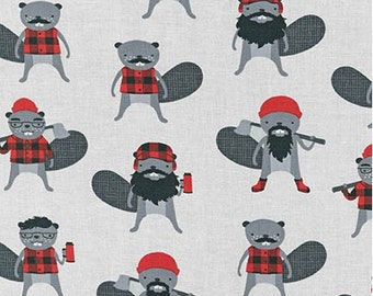 Burly Beaver on Steel Grey from Robert Kaufman's Burly Beaver Collection by Andie Hanna