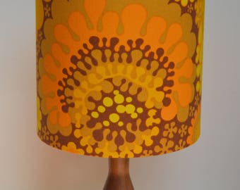 "Handmade drum lampshade using vintage Scandinavian fabric 'Folklore"" by Göta Trägårdh - abstract flower in mustard, yellow and brown"