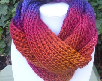 Hand Knit Infinity scarf, Hand Knit multi color scarf, hand knit womens scarf, hand knit Eternity scarf, scarve , scarf