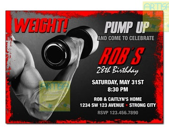 Weight Lifting Invitation, Body Builder Invitation, Muscles Invitation, Bodybuilder Birthday Invitation, Weights Birthday, ANY OCCASION
