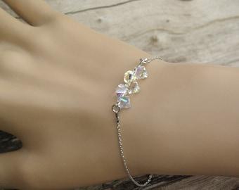Crystal Bar Bracelet Swarovski Crystal AB Sterling Silver Bracelet Beaded Bar Bracelet Dainty Bracelet Bridal Wedding Bridesmaid Bracelet
