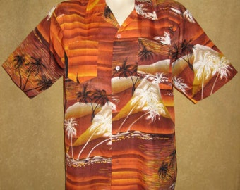Mens Hawaiian Shirt L - XL Sunset Print 60s Vintage