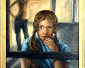 Superb ca.1979 Young Girl with Pigtails Portrait Painting Oil/Canvas w/Frame Signed