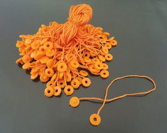 Hang Tag String - 100pcs Orange Hang Tag String with Round Plastic Fastener