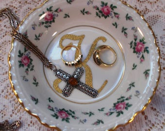 Antique China Monogrammed Ring/Trinket Dish Mother's Day/ Bridesmaid Gift