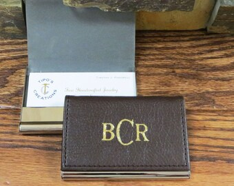 Leather Business Card Holder- Gifts for Men- Office Gift- Gifts for Women, Christmas Gift (37BRN)