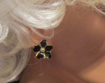 Vintage Black Enamel and Pearl Flower Clip Earrings