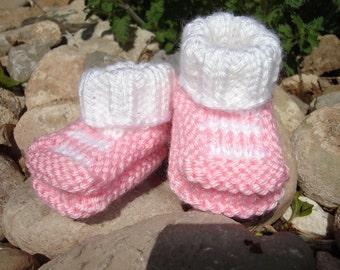 Hand knit baby booties - Top-Striper Booties