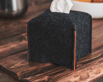 Square tissue box cover, felt tissue holder, Kleenex napkin holder, dorm room decor, living room decor, housewarming gift, office decors