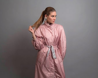 80s Oversized Rain Coat / Water-Repellent Rain Coat / Vintage 80s Coat / Pink Coat Δ fits sizes: XS/S/M
