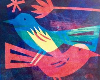 Love Nest original Monoprint wall art