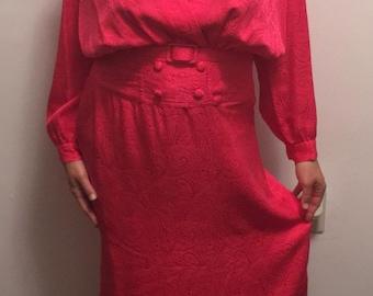 Vintage Silk Paisley Fuchsia Dress