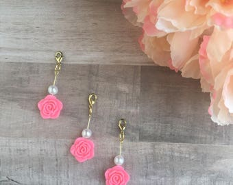 Hot Pink Rose and Pearl Traveler's Notebook Rose Charm